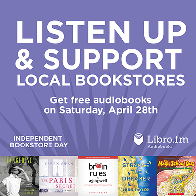 Free audiobooks on Independent Bookstore Day logo
