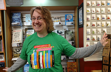 Jen in an Independent Bookstore Day t-shirt