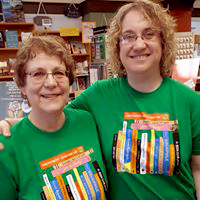 Sally and Jen wearing 2019 Independent Bookstore t-shirts